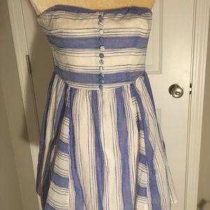 Linen blue and white mini dress sz 2